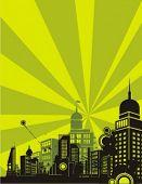 Sonnenschein Cityscape Silhouette Hintergrund Serie. Überprüfen Sie mein Portfolio für viel mehr von dieser Serie als