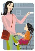 Série de ilustração vetorial comercial. Comercial mãe com seu filho. Confira meu portfólio para muito mais