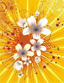 Blumen Hintergrund mit Lichtstrahlen und Grunge-Details, Vektor-Illustration-Serie.