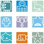 Square animal icon series - seaworld.