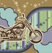 Vector background with a chopper motorcycle - Original design