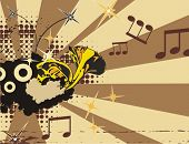 Music instrument background with a horn.