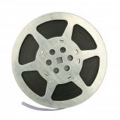 16mm vintage motion picture film reel, isolated on white background