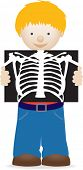 illustration of a little boy holding an xray, health and hospital illustration