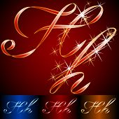 Ribbon styled vector gala alphabet. Applicable for dark and light background. Letter h