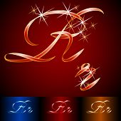 Ribbon styled vector gala alphabet. Applicable for dark and light background. Letter r