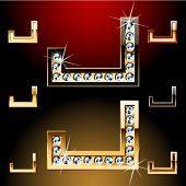 Vector illustration of boldest golden letters with shining diamonds. Character j