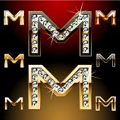 Vector illustration of boldest golden letters with shining diamonds. Character m