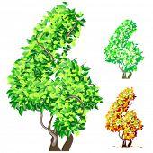 Vektor-Illustration eine zusätzliche detaillierte Baum Alphabet Symbole. Leicht abnehmbare Krone. Zeichen 4