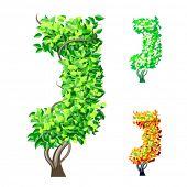 Vektor-Illustration eine zusätzliche detaillierte Baum Alphabet Symbole. Leicht abnehmbare Krone. Zeichen j