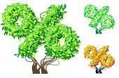 Vektor-Illustration eine zusätzliche detaillierte Baum Alphabet Symbole. Leicht abnehmbare Krone. Zeichen pro