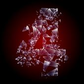 Alphabetic characters of broken glass. Sensitive to the background. Character 4