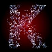 Alphabetic characters of broken glass. Sensitive to the background. Character k