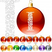 Versatile set of alphabet symbols on Christmas balls. Letter i
