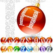 Versatile set of alphabet symbols on Christmas balls. Letter h