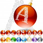Versatile set of alphabet symbols on Christmas balls. Letter a