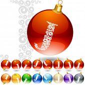 Versatile set of alphabet symbols on Christmas balls. Letter j