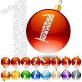 Versatile set of alphabet symbols on Christmas balls. Letter 1