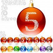 Versatile set of alphabet symbols on Christmas balls. Letter 5