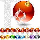 Versatile set of alphabet symbols on Christmas balls. Letter r