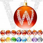 Versatile set of alphabet symbols on Christmas balls. Letter w