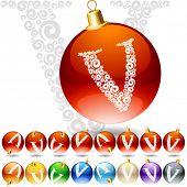 Versatile set of alphabet symbols on Christmas balls. Letter v