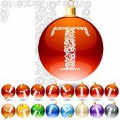 Versatile set of alphabet symbols on Christmas balls. Letter t