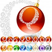 Versatile set of alphabet symbols on Christmas balls. Letter q
