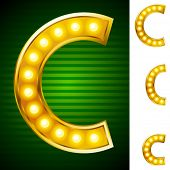 Letters for signs with lamps. Letter c
