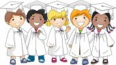 Illustration of a Group of Kids Wearing Graduation Attire