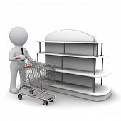 Three-dimensional people with a cart in the hands near the shelf shopping deals