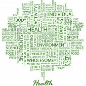 HEALTH. Word collage on white background. Vector illustration. Illustration with different associati