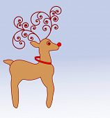 stylized reindeer with coil antlers standing proudly vector