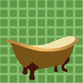 retro bathtub vector
