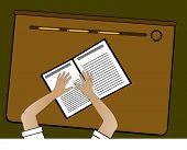 School - hands on scribbler on desk with pencils vector