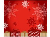 snowflakes with presents vector