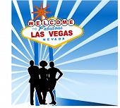 welcome to las vegas sign with three friends in front