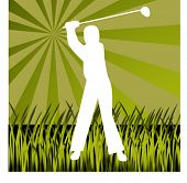 silhouette of golfer hitting out of the rough