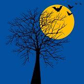 Halloween tree with bats