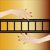 cutout filmstrip with hands - layer over your pictures