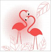 flamingo's  with halftone and leaves