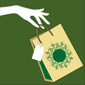 stock photo of thrift store  - hand holding shopping bag with tag - JPG