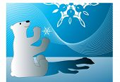polar bear with snowflake and blend behind