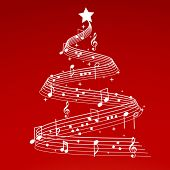 stock photo of christmas star  - christmas tree with musical notes - JPG