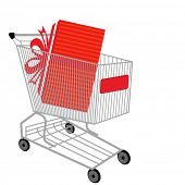 shopping cart with present