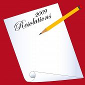 picture of avow  - new years resolutions blank sheet with pencil - JPG