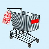 shopping cart with sale tag attached
