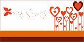 Постер, плакат: сердце цветы с бабочкой один из трех