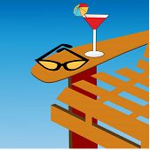 beach chair with drink and funky retro sunglasses