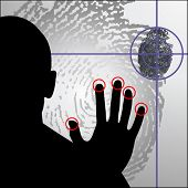 stock photo of beep  - cybercrime biometrics fingerprint - JPG